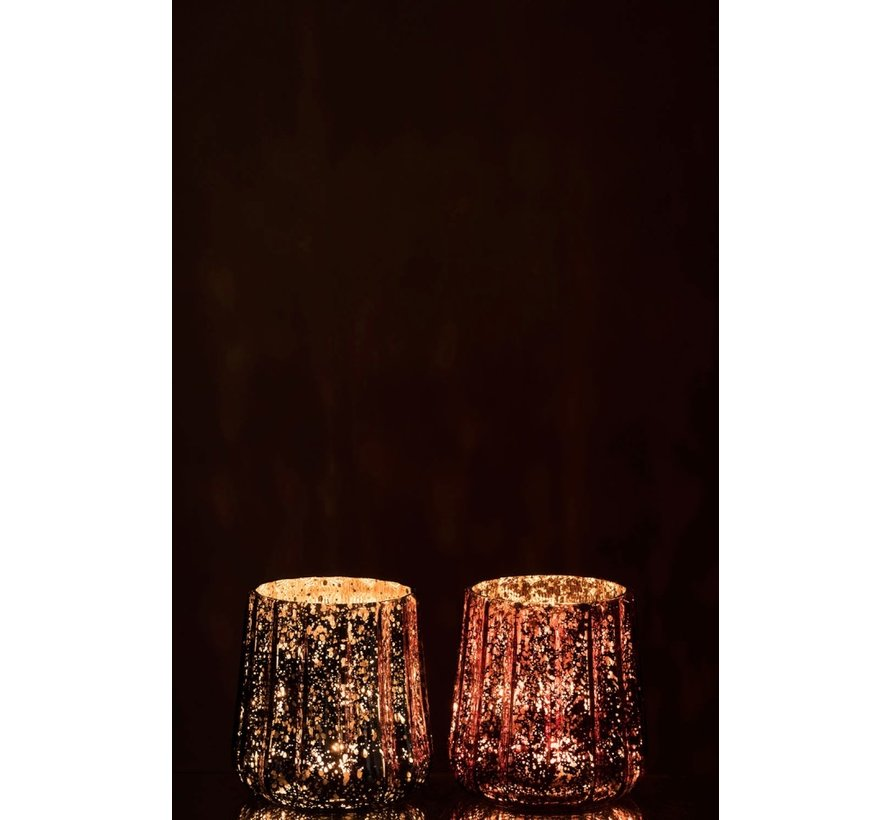 Tealight holder Glass Ribbed Gray Red - Large