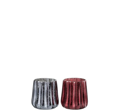 J -Line Tealight holder Glass Ribbed Gray Red - Large