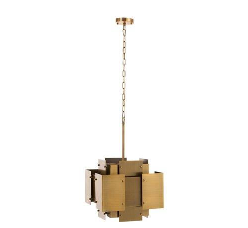 J-Line  Hanglamp Luchter Vierkanten Staal Mat - Goud