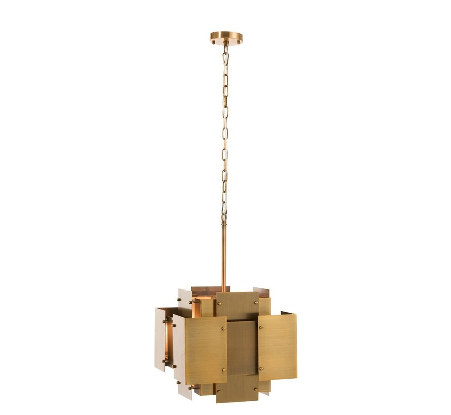 Hanging lamp Luchter Squares Steel Matt - Gold