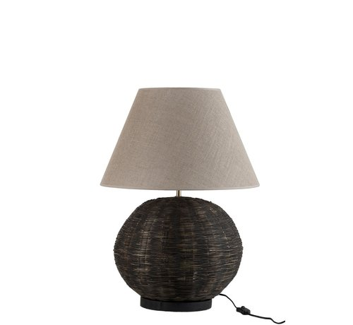 J -Line Table lamp Round Bamboo cotton Black - Beige