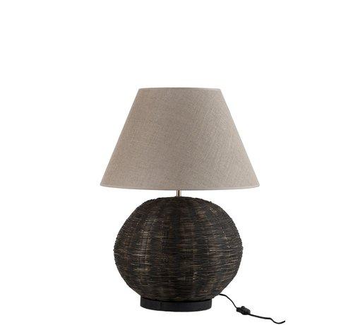 J -Line Tafellamp Rond Bamboo katoen Zwart - Beige