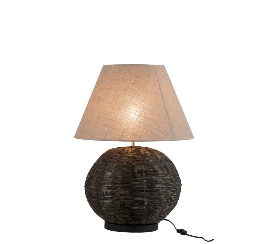Table lamp Round Bamboo cotton Black - Beige