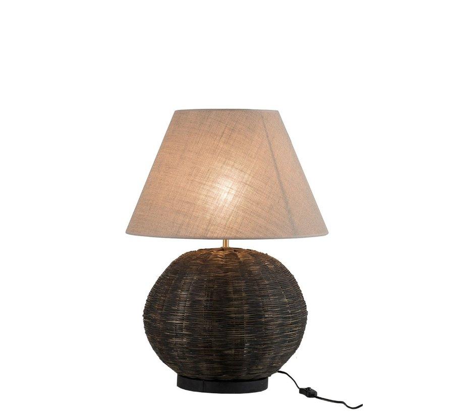 Tafellamp Rond Bamboo katoen Zwart - Beige
