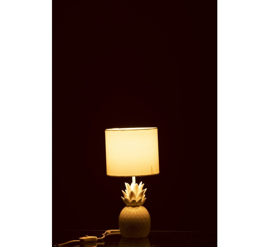 Tafellamp Polyresin Ananas - Wit