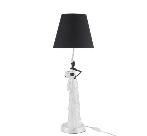 J -Line Tafellamp Poly Afrikaanse Vrouw Wit - Zilver