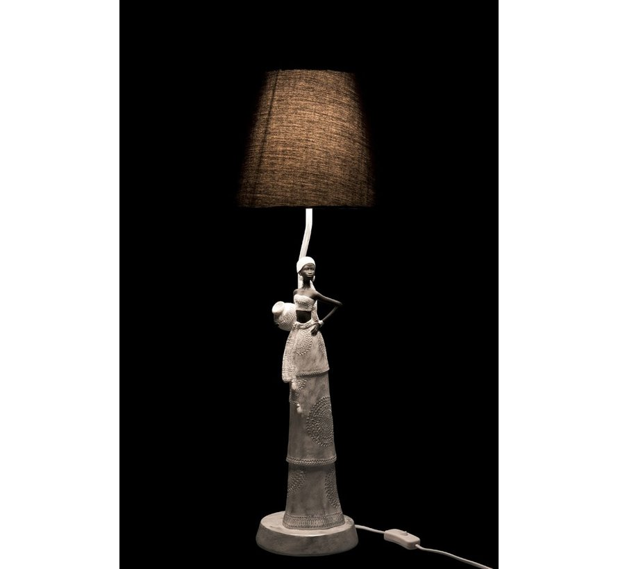 Table lamp Poly African Woman White - Silver