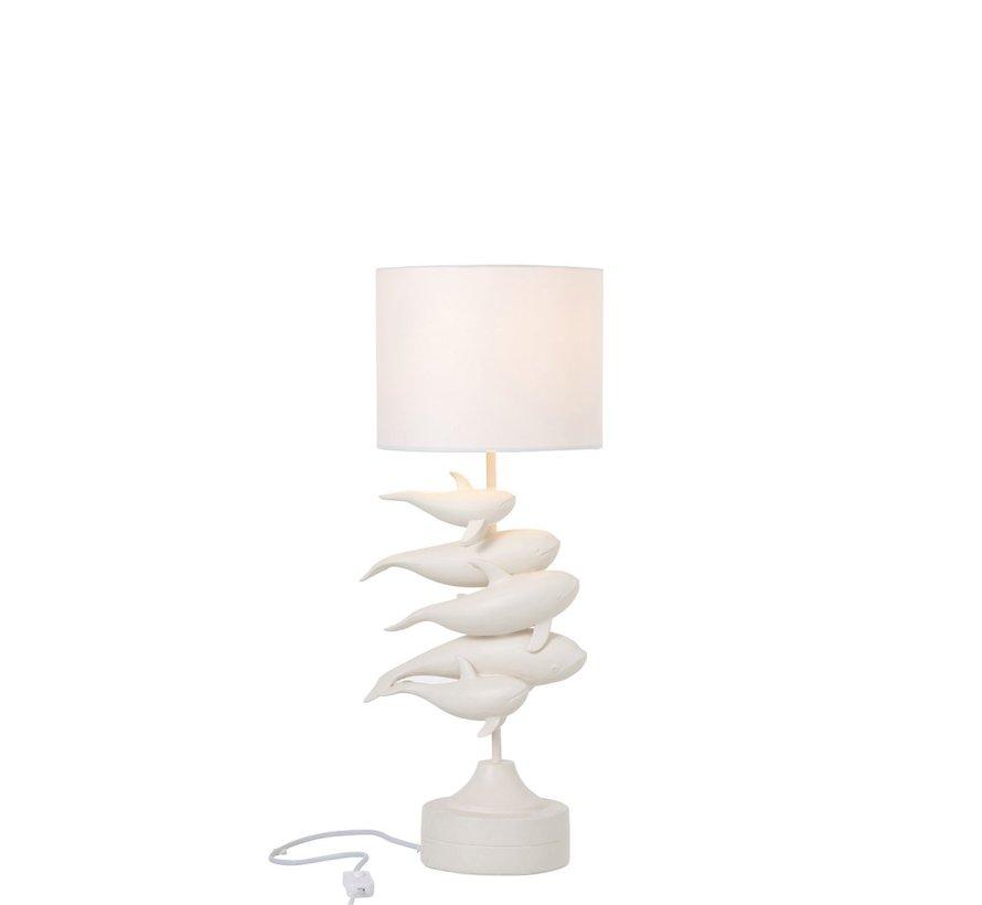 Tafellamp Polyresin Elegante Dolfijnen - Wit