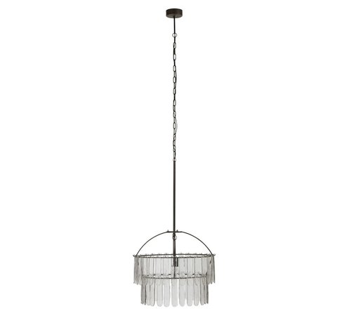 J -Line Hanging lamp Chandelier Glass Meataal - Black