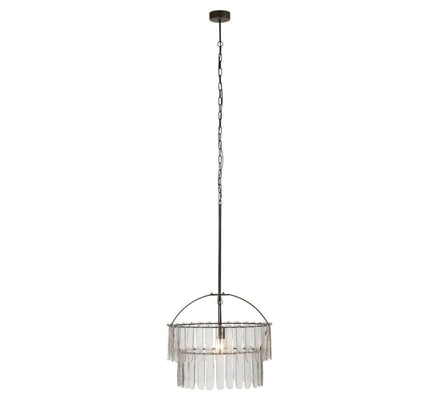 Hanglamp Luchter Glas Meataal - Zwart