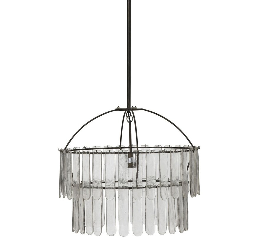 Hanging lamp Chandelier Glass Meataal - Black