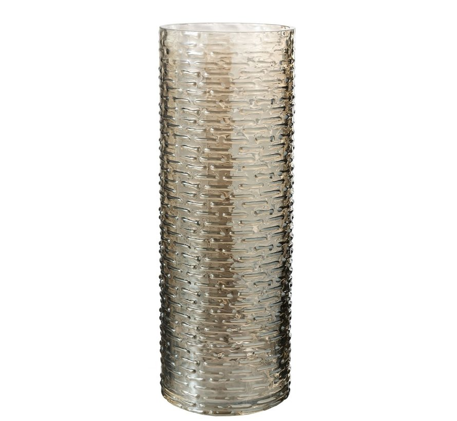 Vaas Glas Cilinder Geribbeld Beige - Large