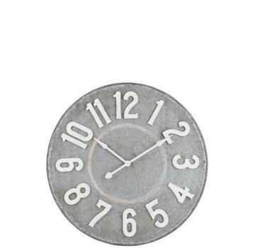 J -Line Wall Clock Round Metal Gray White - Large