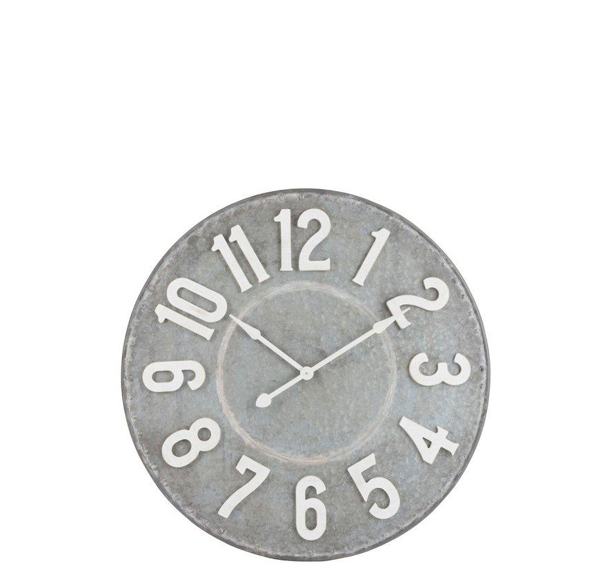 Wall Clock Round Metal Gray White - Large