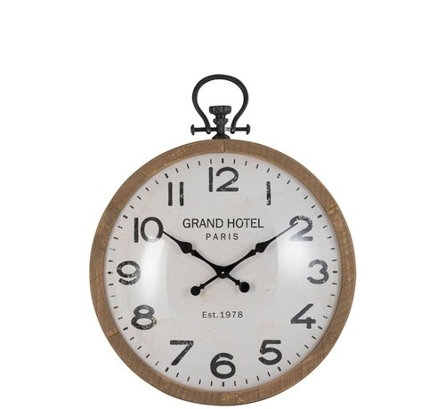 J -Line Wall Clock Round Globe Natural Wood - Large