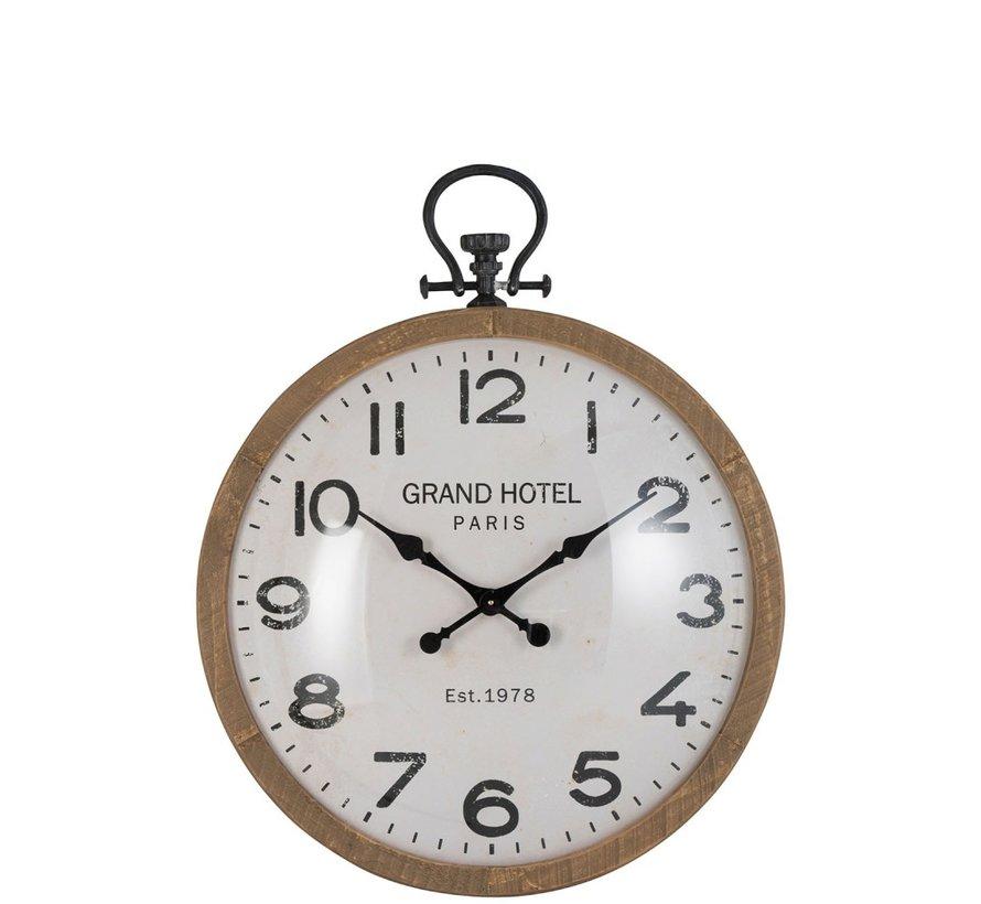 Wall Clock Round Globe Natural Wood - Large