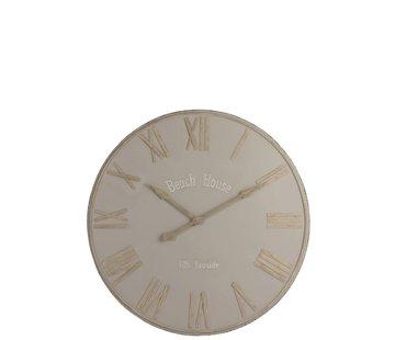 J -Line Wall Clock Round Metal Beach House Beige - Large