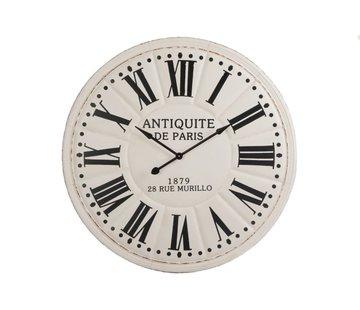 J -Line Wall Clock Round Wood White Black - Extra Large