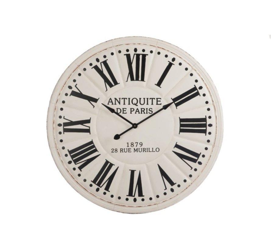 Wall Clock Round Wood White Black - Extra Large