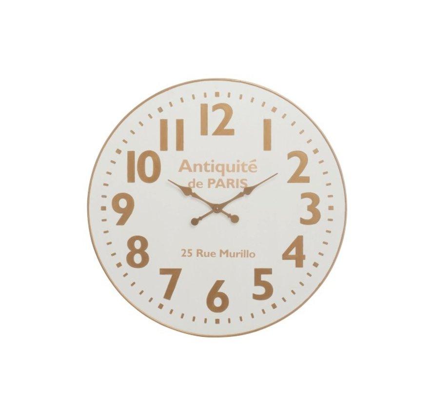 Wall Clock Round Wood De Paris White Gold - Large