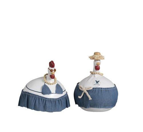 J -Line Chicken Ceramic Summer Jeans White Blue - Large