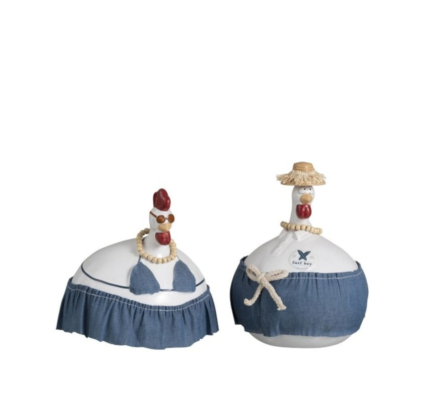 Ceramic chickens Jeans Blue Large
