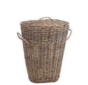 J -Line Basket Oval Willow Lid Natural - Brown