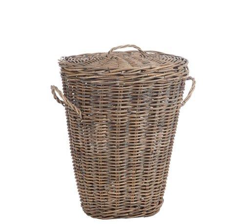 J -Line Basket Oval Willow Lid Natural - Brown