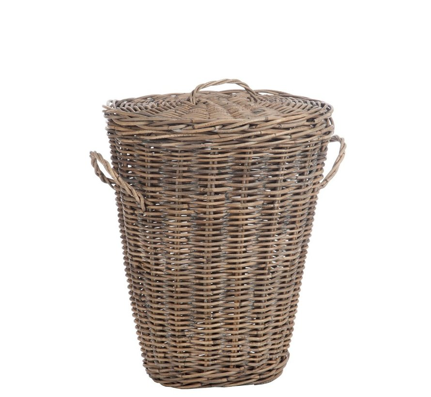 Basket Oval Willow Lid Natural - Brown