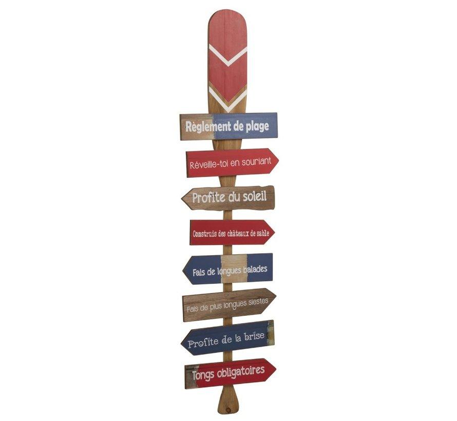 Decoratie Bord Hout Peddel Beach Blauw - Rood