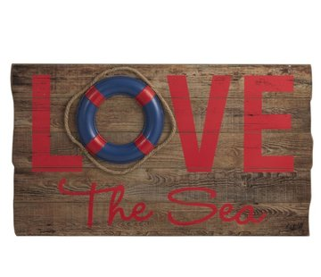 J -Line Decoration Plate Wood Love Sea Red - Blue