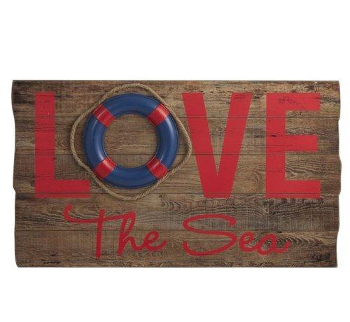 J -Line Decoratie Bord Hout Love Sea Rood - Blauw