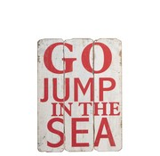 J-Line  Decoration Sign Wood Go Jump In The Sea White - Red