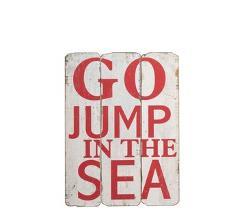J -Line Decoratie Bord Hout Go Jump In The Sea Wit - Rood