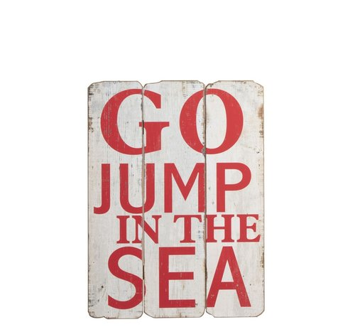J-Line Decoratie Bord Hout Go Jump In The Sea Wit - Rood