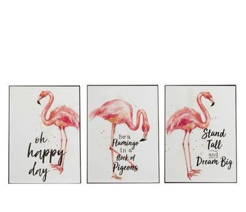 J -Line Decoration Plate Metal Flamingo Coral White - Pink