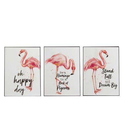J -Line Decoratie Bord Metaal Flamingo Koraal Wit - Roze