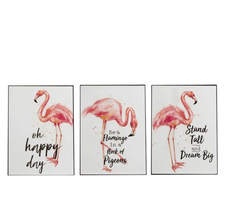Decoratie Bord Metaal Flamingo Koraal Wit - Roze