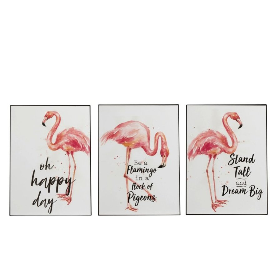 Decoration Plate Metal Flamingo Coral White - Pink