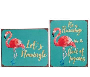 J -Line Decoratie Bord Metaal Flamingo Blauw - Roze