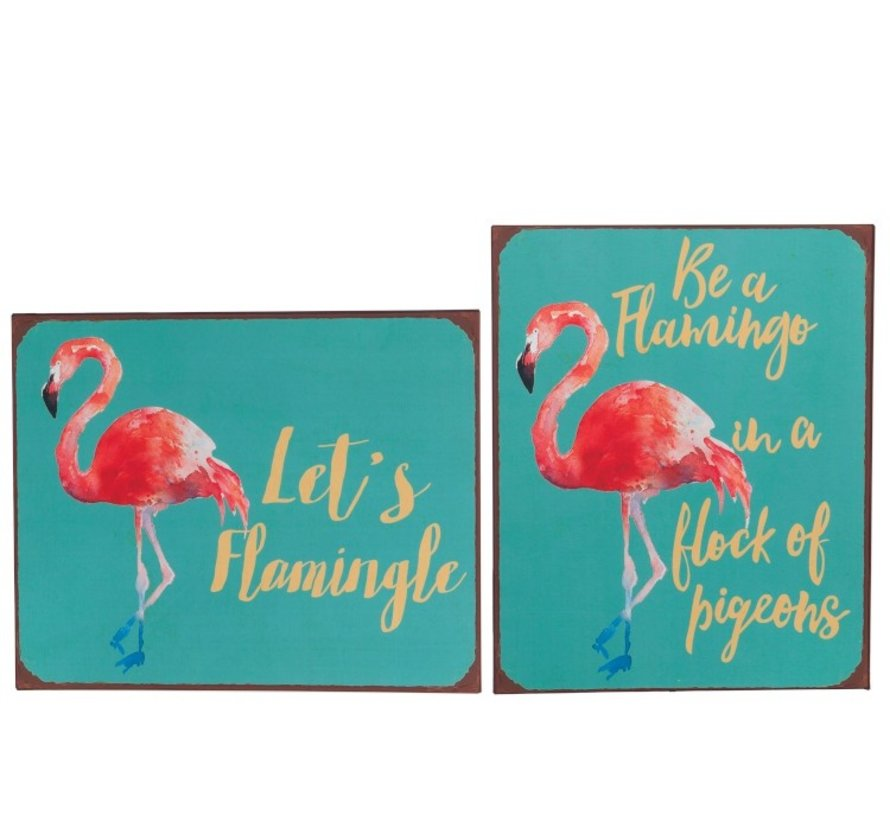 Decoratie Bord Metaal Flamingo Blauw - Roze