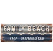 J-Line  Decoratie Bord Metaal Rechthoek Family Beach - Blauw
