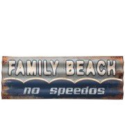 J -Line Decoration Plate Metal Rectangle Family Beach - Blue
