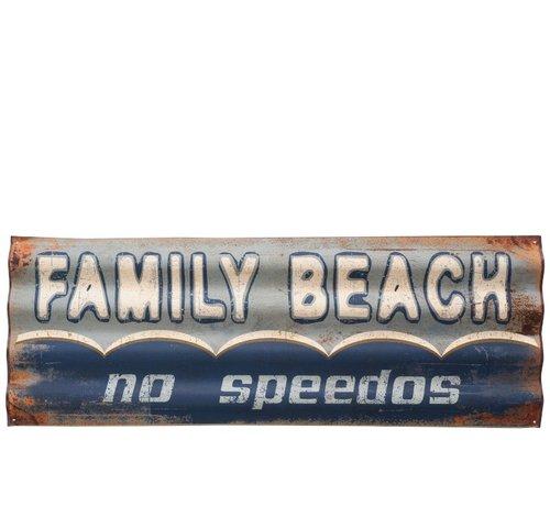 J-Line Decoration Plate Metal Rectangle Family Beach - Blue