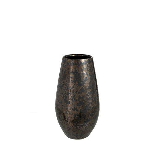 J-Line Vaas Keramiek Antique Smokey Zwart Roest - Small