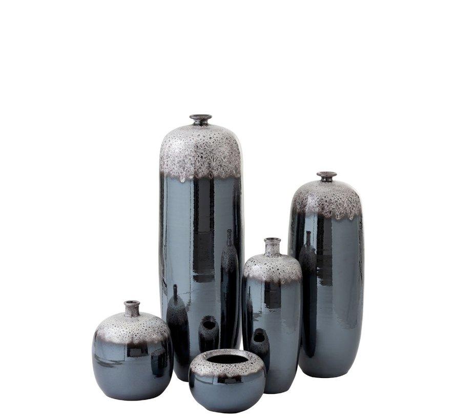 Bottle Vase Ceramic Speckles Metal Brown Gray - Large