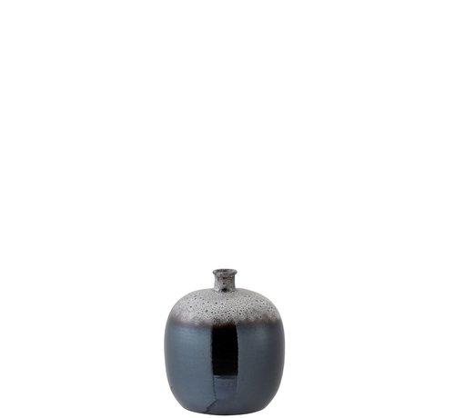 J -Line Flessen Vaas Keramiek Spikkels Metal Bruin Grijs - Small