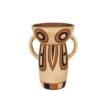 J-Line Terracotta Vase Ethnic Ears Mix Colors - Large
