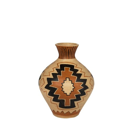 J -Line Flessen Vaas Terracotta Ethnic Mix Kleuren - Large