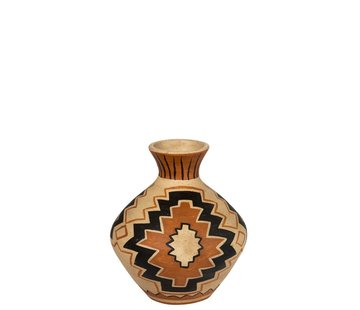 J -Line Bottles Vase Terracotta Ethnic Mix Colors - Small